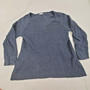 J Jill Sweater M Blue Heavy Stripe Chevron Linen V